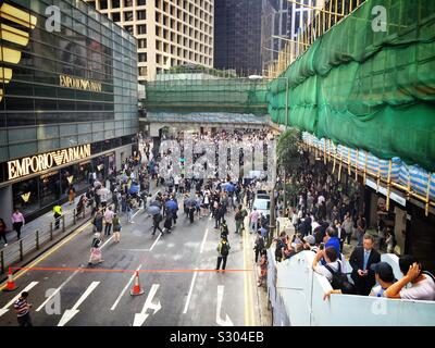 Office workers in Hong Kong's CBD protest during their lunch break, November 2019 - Stock Photo