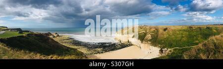 Panorama view of Thornwick Bay, Flamborough, Yorkshire - Stock Photo
