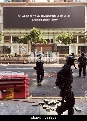 HongKong, Hong Kong - November, 2019: Riot police on street during protest in HongKong - Stock Photo
