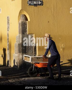 Traveling Nut Salesmen in Antigua, Guatemala - Stock Photo