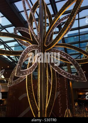 Large glittering Christmas decoration in shopping centre