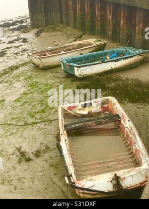 Boats moored by the River Adur, Shoreham-by-Sea. - Stock Photo
