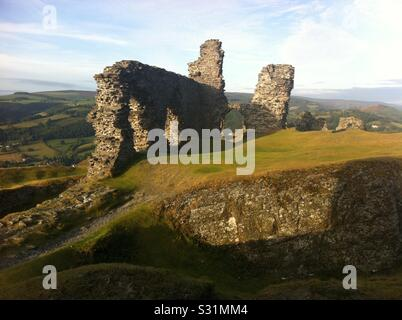 Castell dinas bran castle in the sun on a hill - Stock Photo