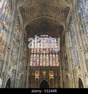 Interior of kings college Cambridge - Stock Photo