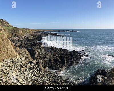 Chivelstone Coastline East Prawle; South Devon Coast - Stock Photo