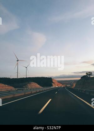 road trip at sunset - Stock Photo