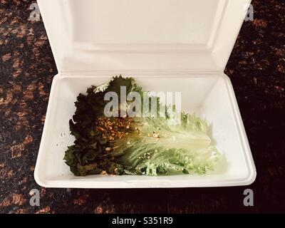 Take out box with garnish of lettuce from a Chinese food restaurant - Stock Photo