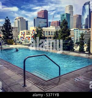 Swim with a view.  Downtown Los Angeles CA 2017 - Stock Photo