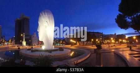 Colon Square, night view. Madrid, Spain. - Stock Photo