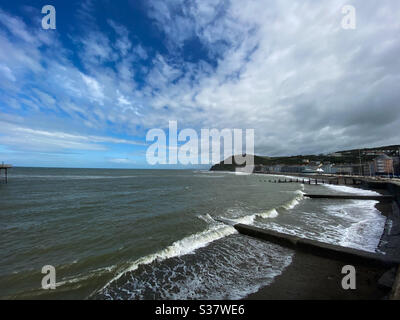 Aberystwyth, West Wales, UK. Sunday 5th July 2020. News: A sunny day with blue skiesin Aberystwyth by the beach. ©️ Rose Voon / Alamy Live News - Stock Photo