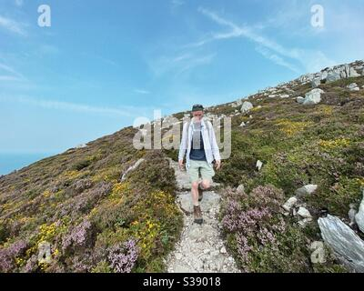Walker on the cliff path at Holyhead mountain near South Stack, Anglesey, north wales - Stock Photo