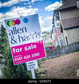 Property for sale sign in Clarkston, East Renfrewshire in Scotland