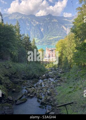View of Grand Hotel in Giessbach, Switzerland September 2020 - Stock Photo