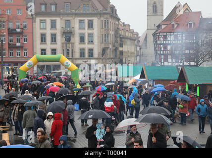Erfurt, Germany. 16th Mar, 2019. Visitors to the cathedral square at the opening of the barbecue season 'RostKultur - Thüringen glows up'. 13 manufacturers of original Thuringian bratwursts present their sausages on the cathedral square. Credit: Bodo Schackow/dpa-Zentralbild/dpa/Alamy Live News - Stock Photo
