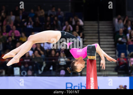 Liverpool, UK. 16th March, 2019. Leah Rockett (Sounth Durham Gymnastics) performs Balance Bean in Women's Senior All-Around during the 2019 Gymnastics British Championships at M&S Bank Arena on Saturday, 16 March 2019. LIVERPOOL ENGLAND. (Editorial use only, license required for commercial use. No use in betting, games or a single club/league/player publications.) Credit: Taka G Wu/Alamy News - Stock Photo