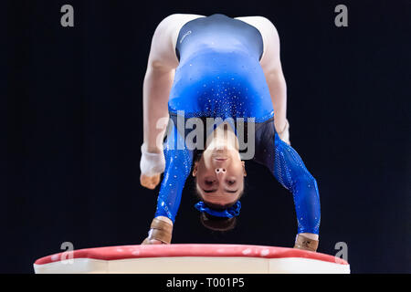 Liverpool, UK. 16th March, 2019. Ellie Russell (West Lothian Artistic) performs Vault in Women's Senior All-Around during the 2019 Gymnastics British Championships at M&S Bank Arena on Saturday, 16 March 2019. LIVERPOOL ENGLAND. (Editorial use only, license required for commercial use. No use in betting, games or a single club/league/player publications.) Credit: Taka G Wu/Alamy News - Stock Photo
