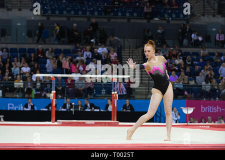 Liverpool, UK. 16th March 2019. (Gymnast name) of (club) competing during the (apparatus) rotation at the Men's and Women's Artistic British Championships 2019, M&S Bank Arena, Liverpool, UK. Credit: Iain Scott Photography/Alamy Live News - Stock Photo