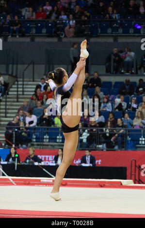 Liverpool, UK. 16th March 2019. Megan Bridge of Gymmagic competing during the floor rotation at the Men's and Women's Artistic British Championships 2019, M&S Bank Arena, Liverpool, UK. Credit: Iain Scott Photography/Alamy Live News - Stock Photo