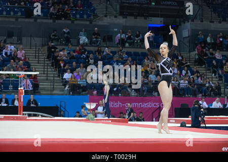 Liverpool, UK. 16th March 2019. Emily Bremner of DGC2K competing during the floor rotation at the Men's and Women's Artistic British Championships 2019, M&S Bank Arena, Liverpool, UK. Credit: Iain Scott Photography/Alamy Live News - Stock Photo