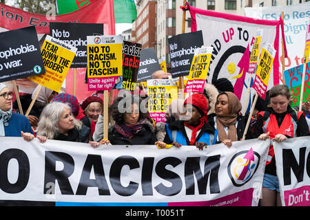 London, UK. 16th March, 2019. people gather to protest against far-right groups in UK and Europe. Credit: AndKa/Alamy Live News - Stock Photo