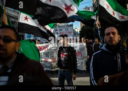 Athen, Greece. 16th Mar, 2019. Migrants take part in a demonstration against racism in the Greek capital. Credit: Angelos Tzortzinis/DPA/Alamy Live News - Stock Photo