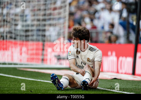Santiago Bernabeu, Madrid, Spain. 16th Mar, 2019. ; La Liga football, Real Madrid versus Celta Vigo; Alvaro Odriozola (Real Madrid) Credit: Action Plus Sports/Alamy Live News - Stock Photo