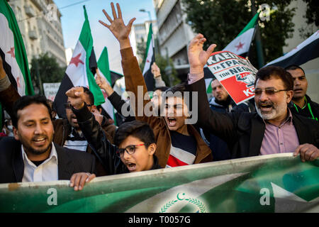 Athen, Greece. 16th Mar, 2019. People take part in a demonstration against racism in the Greek capital. Credit: Angelos Tzortzinis/DPA/Alamy Live News - Stock Photo