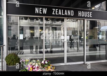 Haymarket,London, UK. 16th March 2019. Floral Tributes to the Victims of the Christchurch Massacre,New Zealand House,Haymarket,London.UK Credit: michael melia/Alamy Live News - Stock Photo