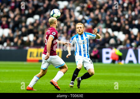 Queen Elizabeth Olympic Park , London, England, UK. 16th March 2019. Alex Pritchard of Huddersfield Town during the Premier League match between West Ham United and Huddersfield Town at the London Stadium, Queen Elizabeth Olympic Park , London, England on 16 March 2019. Photo by Adamo Di Loreto.  Editorial use only, license required for commercial use. No use in betting, games or a single club/league/player publications. Credit: UK Sports Pics Ltd/Alamy Live News - Stock Photo