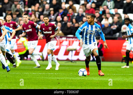 Queen Elizabeth Olympic Park , London, England, UK. 16th March 2019. Juninho Bacuna of Huddersfield Town during the Premier League match between West Ham United and Huddersfield Town at the London Stadium, Queen Elizabeth Olympic Park , London, England on 16 March 2019. Photo by Adamo Di Loreto.  Editorial use only, license required for commercial use. No use in betting, games or a single club/league/player publications. Credit: UK Sports Pics Ltd/Alamy Live News - Stock Photo