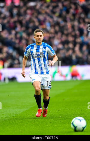 Queen Elizabeth Olympic Park , London, England, UK. 16th March 2019. Chris Löwe of Huddersfield Town during the Premier League match between West Ham United and Huddersfield Town at the London Stadium, Queen Elizabeth Olympic Park , London, England on 16 March 2019. Photo by Adamo Di Loreto.  Editorial use only, license required for commercial use. No use in betting, games or a single club/league/player publications. Credit: UK Sports Pics Ltd/Alamy Live News - Stock Photo