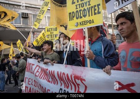Athens, Greece. 16th Mar, 2019. Protesters are seen holding banner and placards during the demonstration.Thousands of people took place in a protest during the international day against racism and fascism in Athens. Credit: Nikolas Joao Kokovlis/SOPA Images/ZUMA Wire/Alamy Live News - Stock Photo