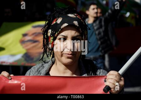 Athens, Greece. 16th Mar, 2019. A Kurdish woman seen during a protest on the International Day for the Elimination of Racial Discrimination in Athens. Credit: Giorgos Zachos/SOPA Images/ZUMA Wire/Alamy Live News - Stock Photo