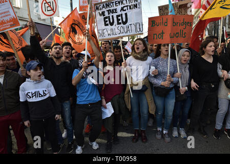 Athens, Greece. 16th Mar 2019. Migrants and supporting activists march chanting slogans during a demonstration to mark the UN International Day for the Elimination of Racial Discrimination in Athens, Greece. Credit: Nicolas Koutsokostas/Alamy Live News. - Stock Photo