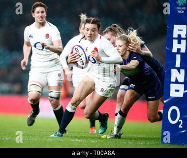 London, ENGLAND, 16th March  Kelly Smith of England Women during the Guinness 6 Nations Rugby match between England Women and Scotland Womenat Twickenham  stadium in Twickenham  England on 16th March 2019 Credit Action Foto Sport - Stock Photo