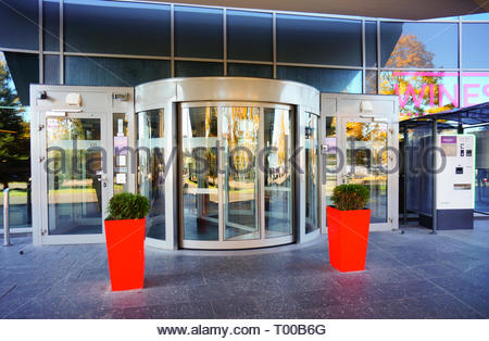 Poznan, Poland - October 31, 2018: Front entrance to the Mercure Hotel building. - Stock Photo