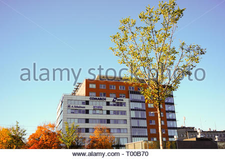Poznan, Poland - October 31, 2018: Globis office building on the Roosevelta street in the city center. - Stock Photo