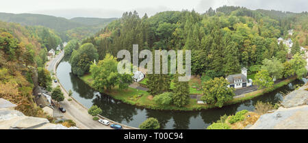 Panorama of the Sauer river flowing through Esch-sur-Sure seen from the castle, dominating the village - Stock Photo