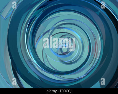 Abstract swirly blue shape on black background. 3D rendering - Stock Photo