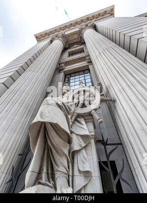 Architectural statue at Four Seasons Hotel London at Ten Trinity Square. - Stock Photo