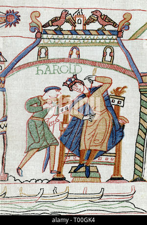 Harold told of the Comet. News of Halley's Comet is brought to Harold Godwinson (c1022–1066). The comet can be seen in the top left of this detail from the Bayeux Tapestry. People considered the comet an evil omen. The Bayeux Tapestry is an embroidered cloth measuring approx 70 metres (230 ft) long and 50 centimetres (20 in) tall. It depicts the events leading up to the Norman conquest of England concerning William, Duke of Normandy, and Harold, Earl of Wessex, later King of England, and culminating in the Battle of Hastings. - Stock Photo