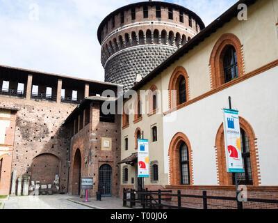 MILAN, ITALY - FEBRUARY 24, 2019: Sforzinda museum in Castello Sforzesco (Sforza Castle) in Milan. The Castel was built by Duke of Milan Francesco Sfo - Stock Photo
