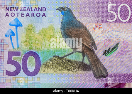 New Zealand 50 dollar paper currency note, Auckland, New Zealand - Stock Photo