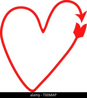 red vector delicate heart in the form of an arrow. Cupid's arrow. Valentine's Day symbol. - Stock Photo