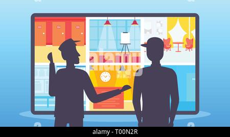 two security guards looking monitor screen men in uniform standing together monitoring cctv cameras control surveillance room portrait flat horizontal - Stock Photo