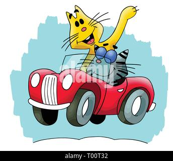 Cartoon cats travelling by a red convertible car vector illustration - Stock Photo