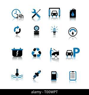 Car symbol icon set black and blue isolated on white background - Stock Photo