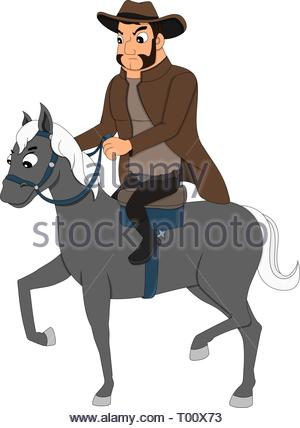 Illustration of a young cowboy riding a horse, isolated on a white background - Stock Photo