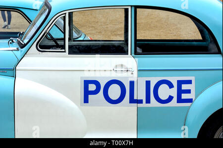 London, UK. 8th March 2019. Police Morris Minor 1000 (1969) in a display of old Police Cars in Horse Guards Parade to coincide with a march to celebra - Stock Photo