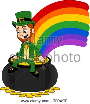Illustration of a smiling leprechaun wearing a green suit a bow-tie and top hat while sitting on a pot o' gold and holding a pipe, isolated on a whi - Stock Photo